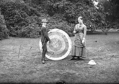 Archery,Robert Dillon & sister Georgina, Clonbrock 1880